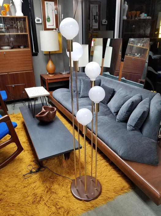 Mid-Century Modern brass floor lamp with spiraling vanity bulbs