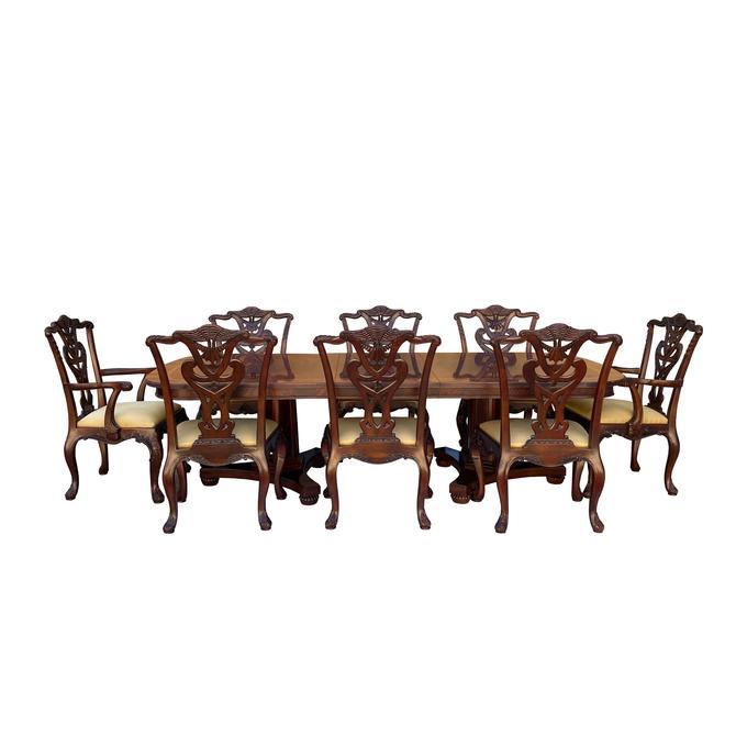 Vintage Estate Henredon Natchez Mahogany Dining Table Set 8 Chairs cs6077E by GoldenLotusAntiques