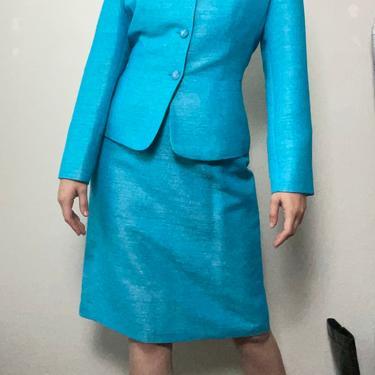 2) vintage le suit light blue iridescent matching skirt suit set size 10 medium large by GRACEandCATS