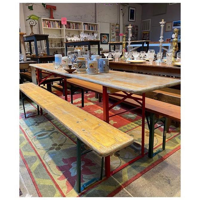 """German beer garden table and benches set Table 86"""" l x 20 d x 30"""" Bench 86"""""""