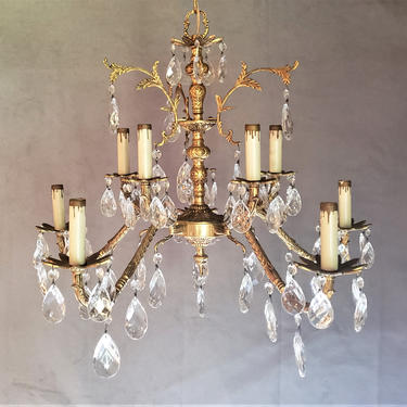 Vintage Hollywood Regency Spanish Brass Bronze Crystal Chandelier by WrightFindsinMCM