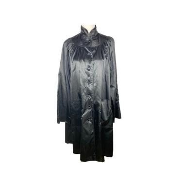 1960's Black Rain Coat Trench Coat Barbara Lee Junior Vintage Clothing Weather Coat, Button Up, High Neck, Hip Pockets Duster Rain Coat by DakodaCo