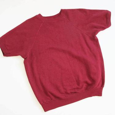 Vintage Raglan Shirt L - 80s Burgundy Red Short Sleeve Sweatshirt - Athletic Sweater Shirt - Solid Color  Blank by MILKTEETHS