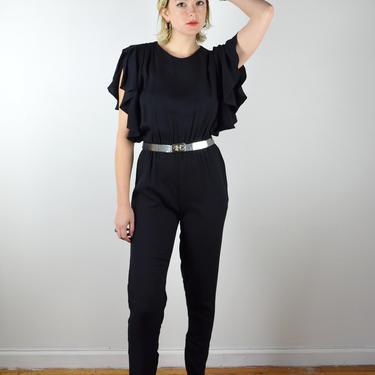 Vintage 90s 80s Jumpsuit / Ruffle Sleeves / 1980s 1990s Black Jumpsuit Sleeveless / XS Small Medium / Ruffles / Sleeveless Jumpsuit by ErraticStaticVintage