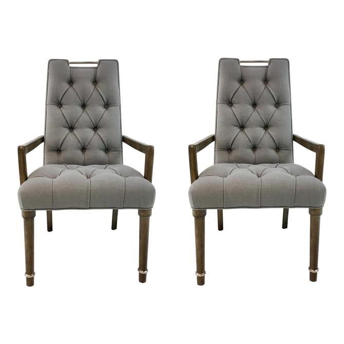 Transitional Drexel Heritage Gray Tufted Chandler Chairs Pair