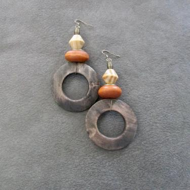 Big wooden earrings, natural Afrocentric earrings, mid century modern earrings, African earrings, bold statement, unique ethnic orange by Afrocasian