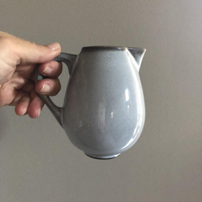 Vintage Jars France Tourron Gris Ecorce Creamer - grey pottery creamer, french farmhouse dinnerware, light gray and charcoal pitcher by ShopTheHyphenate
