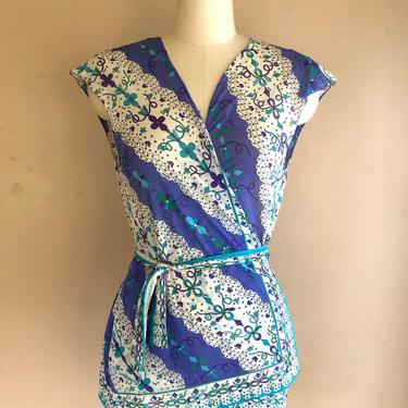 60s EMILIO PUCCI psychedelic print Formfit Rogers wrap around blouse / 1960s 70s vintage EPFR signed wrap top sz M by ritualvintage