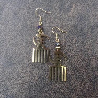 Afro pick earrings, adinkra symbol earrings, gye nyame earrings, bold statement earrings, Afrocentric earrings, comb earrings, wood brass by Afrocasian