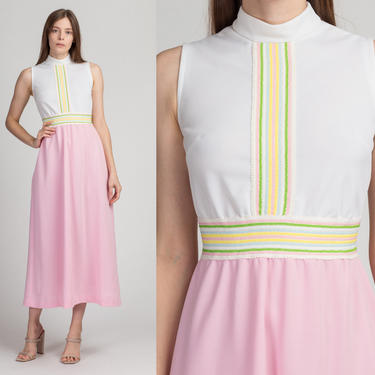 70s Vicky Vaughn Pastel Striped Maxi Dress - Extra Small   Vintage Pink White Retro Column Hostess Party Gown by FlyingAppleVintage
