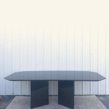 Italian Modern Black Lacquer Dining Table