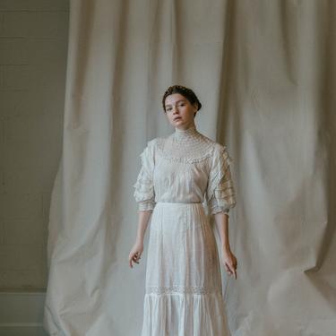 Antique edwardian batiste lace blouse and skirt set OOAK early 1900s by DevoreVintage