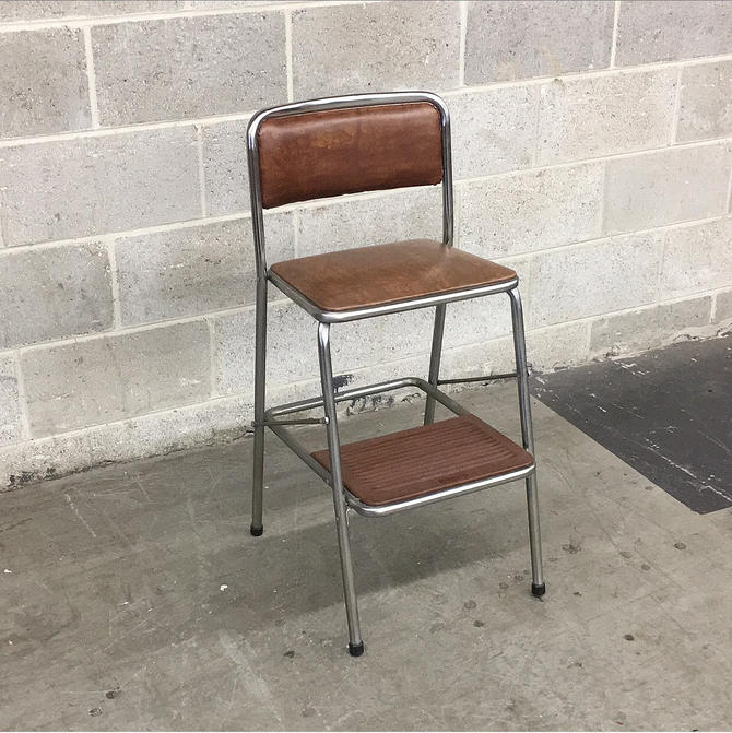 Vintage Step Stool Retro 1980s Cosco + Brown Vinyl + Silver Metal Frame + Small Ladder + Folds Up + Extra Seating + Home Decor and Furniture by RetrospectVintage215