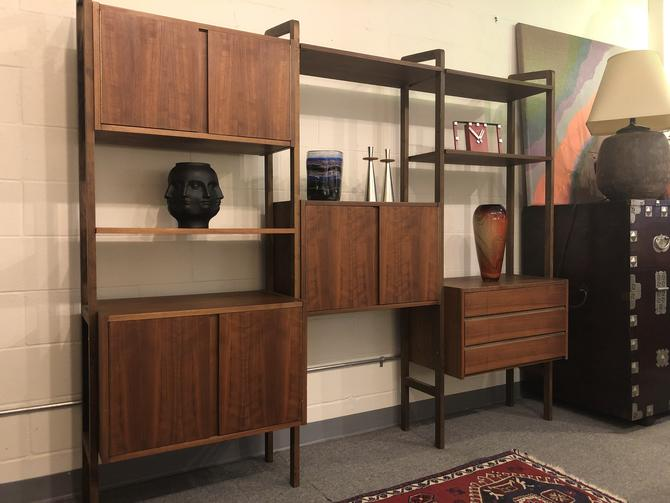 Free Standing Mid Century Walnut Wall Unit