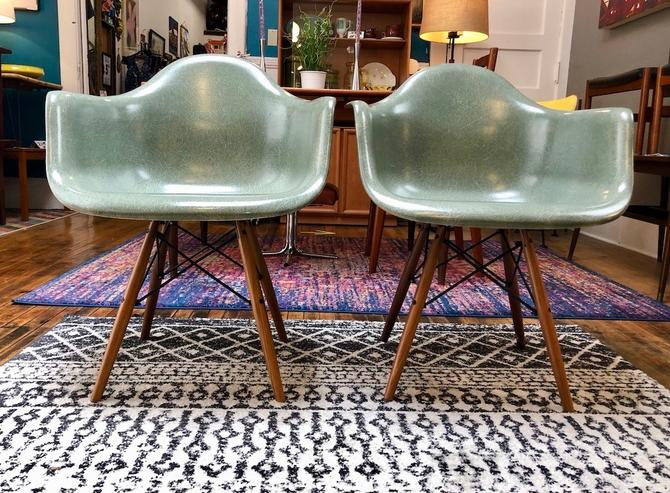 Pair of Fiberglass Shell Arm Chairs by Modernica with Dowel Leg Base