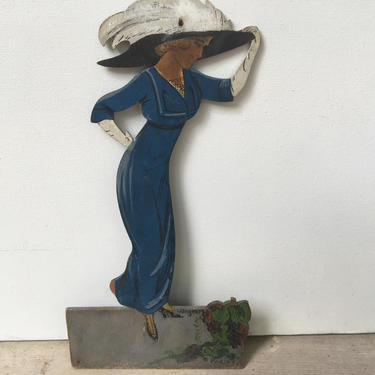 Vintage Victorian Lady Wood Cutout, Hand Painted And Signed, Paris,  Wall Hanging, Victorian Dress And Hat, Parisian by luckduck