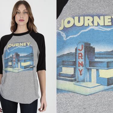 Vintage 1986 Journey Band T Shirt 80s Heather Grey Journey T Shirt 50 50 World Tour T Shirt Concert Rock Jersey Raglan Tee T Shirt by americanarchive