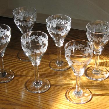 6 Bryce Crystal Needle Etched Scroll Wine Cordial Glasses, Elegant Glass, 1940s Barware Drink Ware,  BRYCE 285-6 by eClectricityVintage