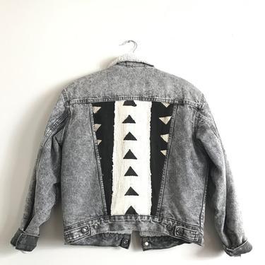 Black & White Arrow Acid Wash Jean Jacket