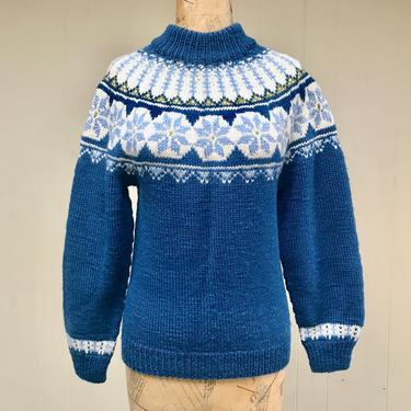 """Vintage Nordic Pullover Sweater, Blue Hand-Knit Ski Sweater, Soft, Thick Winter Sweater, Made in Denmark, Small 34"""" Bust by RanchQueenVintage"""