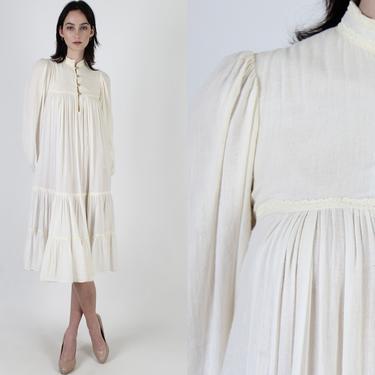 Gunne Sax Dress Boho Wedding Dress / Vintage 70s Trapeze Gauze Dress / Renaissance Peasant Prairie Pockets Mini Midi Dress With Pockets by americanarchive