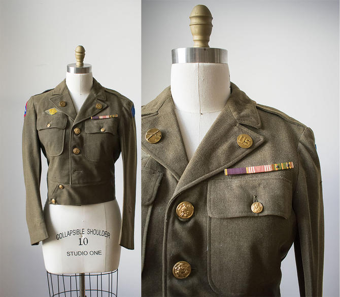 Vintage Wool Military Jacket / 1940s Service Jacket / Green Wool Military Button Down / Eisenhower Jacket / Wool Eisenhower Jacket by milkandice