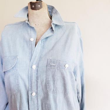 1980s Blue Denim Button Down Shirt Ralph Lauren / 80s Blue Jeans Blouse Long Sleeved / Large / Marlee by RareJuleVintage