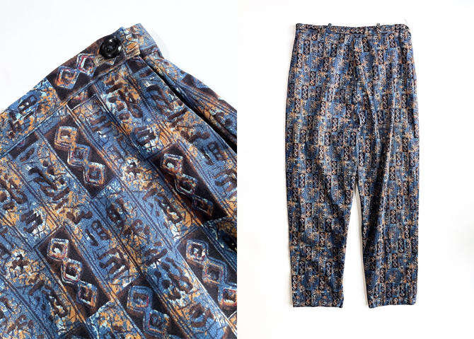 1960s Blue Abstract Print Polished Cotton Pants by hemlockvintage
