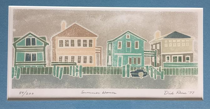 Original Signed Print by Dick Reese 'Summer Homes' 1977 by ModandOzzie