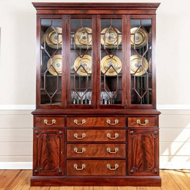 Vintage Kittinger Richmond Hill Collection Flame Mahogany Chippendale Style Glass Door China Cabinet by LynxHollowAntiques