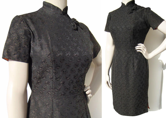 Vintage 50s Cheongsam Dress Black Rose Damask Qipao M by MetroRetroVintage