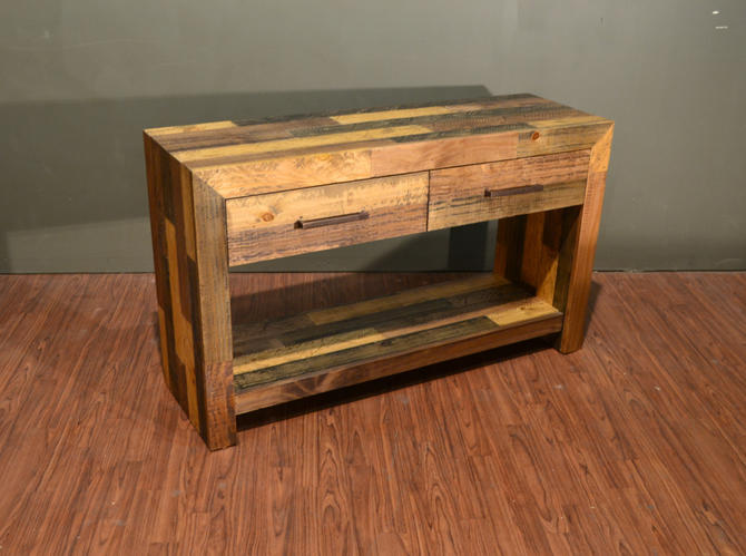 Rustic Solid 2 Drawer Console Table / Rustic Loft Style Sofa Table by RusticShop1