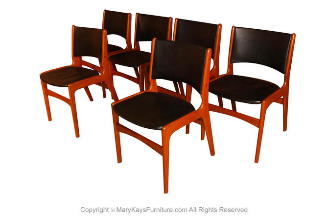 6 Mid Century Teak Dining Chairs Model 89 Erik Buch for Povl Dinesen by Marykaysfurniture