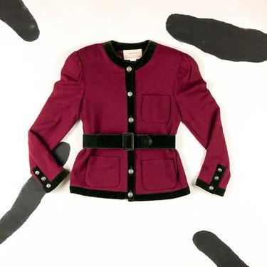 80s Miss O by Oscar De La Renta Burgundy Wool Blazer / Pockets / Jacket / Belted / Green Accents / Velvet / Shoulder Pads / Size 6 / Jewel by shoptrashdotnet