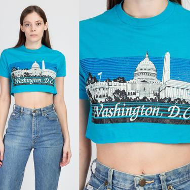 80s Washington DC Crop Top - Extra Small   Vintage Blue Skyline Monument Cropped Graphic Tee by FlyingAppleVintage