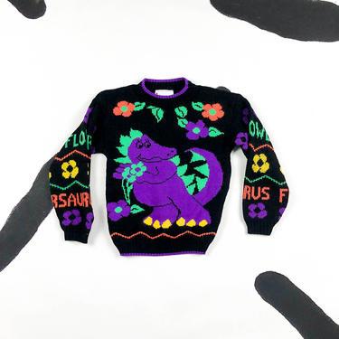 80s Hot Cashews Flowersaurus Sweater / Dinosaur / Daisies / Neon / Knit / Acrylic / Novelty / Kids Sweater / Youth / Child / 1980s / 90s / by shoptrashdotnet