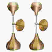 Pair of Custom Brass Double Head Mid Century Style Sconces