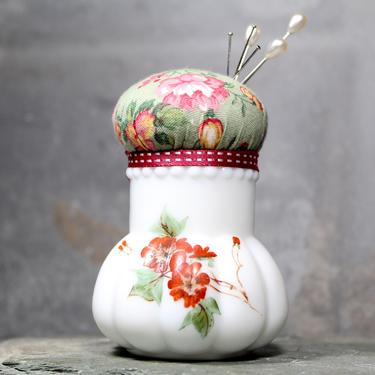 Floral Ceramic Upcycled Pin Cushion - Vintage Milk Glass Miniature Bud Vase Transformed Into a Pin Cushion - Handmade  | FREE SHIPPING by Bixley