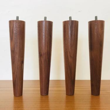 "MID CENTURY MODERN 6"" Solid Walnut Set of 4 Handmade Furniture Legs/Feet (Los Angeles) by HouseCandyLA"