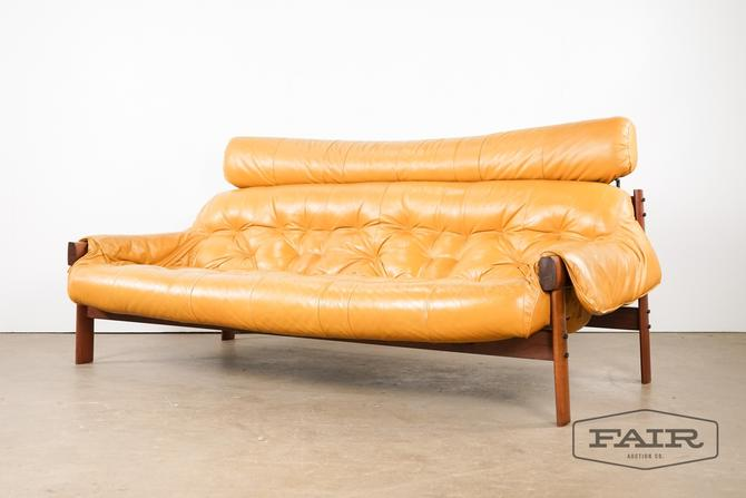 Percival Lafer Leather and Rosewood Sofa
