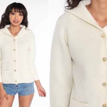 Cream Cardigan Sweater 70s Sweater Raglan Sleeve Button Up Grandma Sweater Boho Vintage 60s Retro Bohemian Plain Small Medium by ShopExile