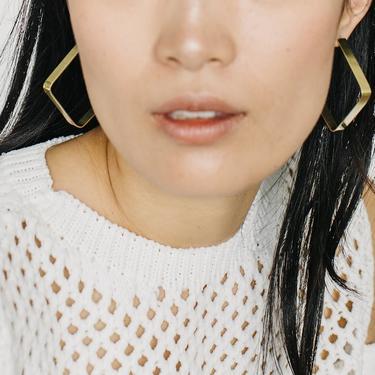 Brass Square Hoop Earrings