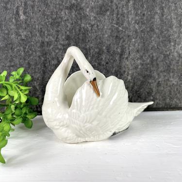 Czech pottery swan trinket dish - 1930s vintage by NextStageVintage