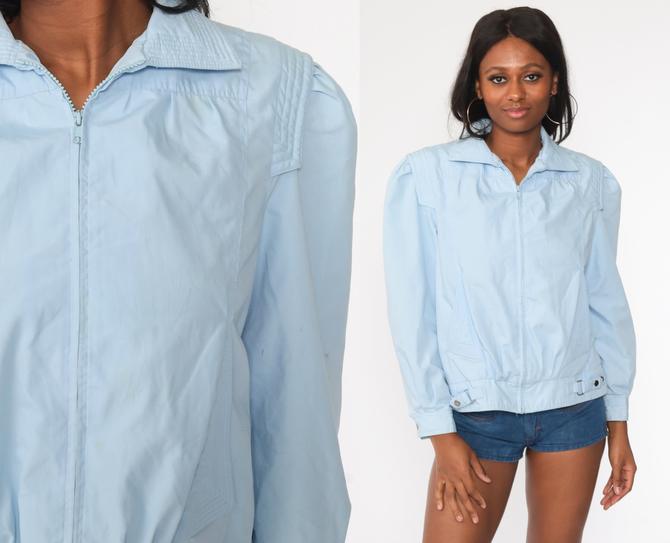 Puff Sleeve Jacket 80s Windbreaker Baby Blue Bomber Jacket Pastel Jacket Hipster Vintage 1980s Jacket Medium Short by ShopExile