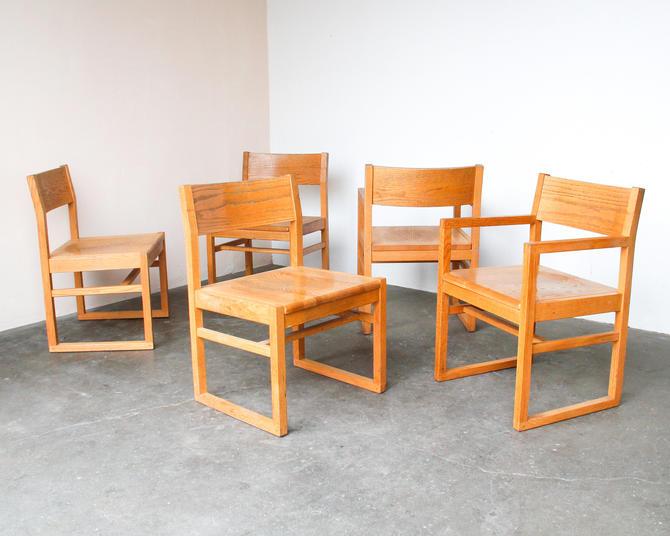 Minimal Vintage Solid Oak Chairs by IridiumInteriors