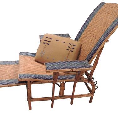 Art Deco Wicker Woven Chaise Lounge
