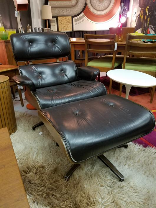 Mid-Century Eames-Style Lounger and Ottoman