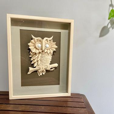 Vintage Shadow Box Frame, Cut Paper, 3D, Owl Wall Hanging Art - Signed by artist, White Brown Grey, 1980's, Neutral Halloween Home Decor by VenerablePastiche