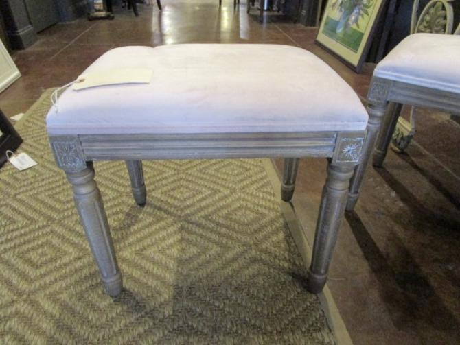 PAIR PRICED SEPARATELY FRENCH STYLE STOOLS WITH PALE PINK VELVET UPHOLSTERY
