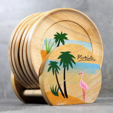 Vintage Souvenir FLORIDA  Hand Painted Wooden Coasters - Set of 6 with holder - Mid-Century Florida Flamingo Souvenir Dishes   FREE SHIPPING by Trovetorium